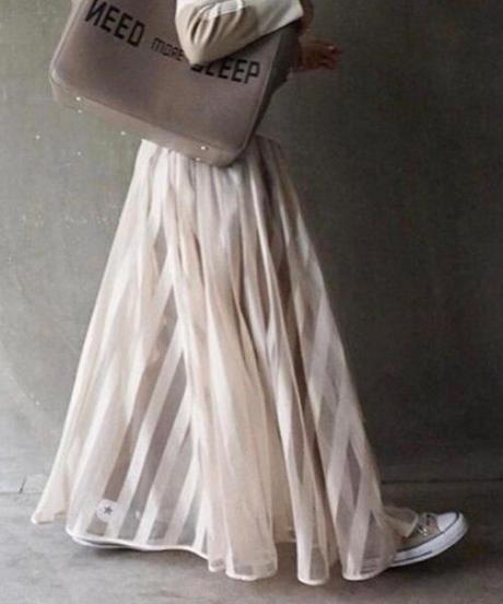 stripe mesh skirt