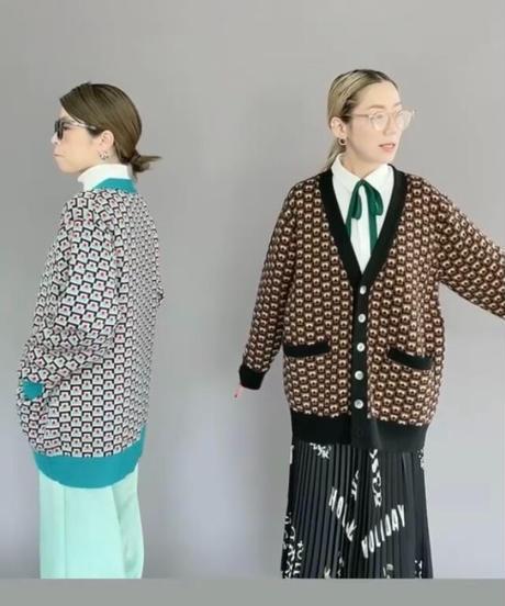 V neck  W jacquard  cardigan