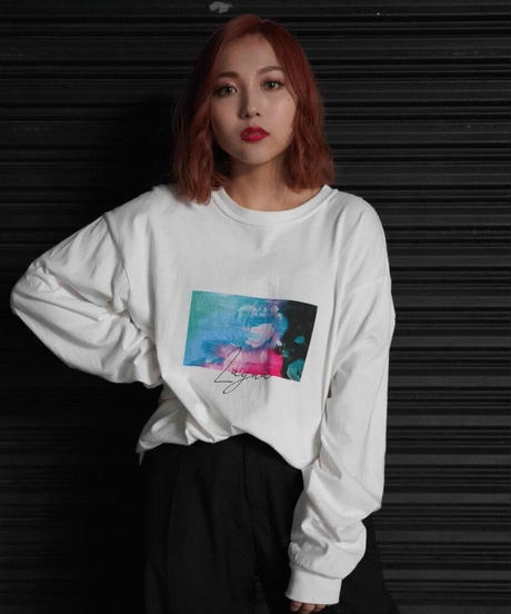 [我儘ラキア][川﨑怜奈] Rose print Longsleeve T-shirts-WHITE-[12月上旬頃お届け予定]