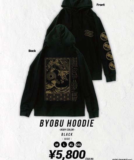 [我儘ラキア][受注販売] Byobu Hoodie -Black-<9月上旬発送予定>