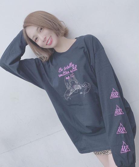[NightOwl][百城凛音] ぞっこん!💘Longsleeve T-shirts-BLACK-  [12/22頃お届け予定]