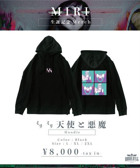 [ MIRI ] ㍉㍉天使と悪魔hoodie -Black- [3/22までにお届け]