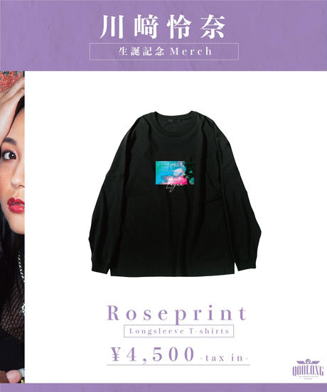 [我儘ラキア][川﨑怜奈] Rose print Longsleeve T-shirts-BLACK-[12月上旬頃お届け予定]