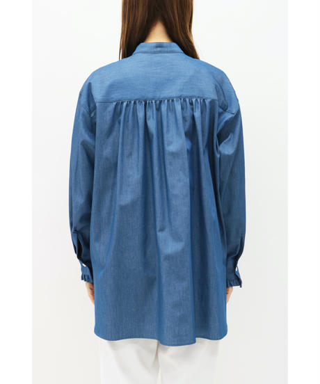 LOANA / ロアナ  フリルバンドカラーデニムシャツ