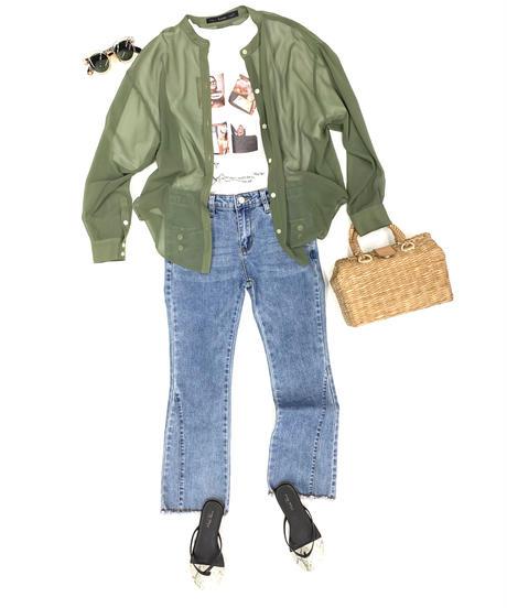 LOANA 80-89402 シアーシフォンバンドカラーシャツ