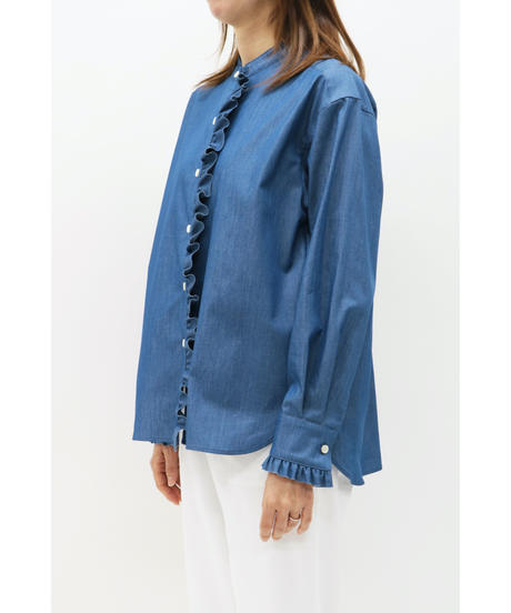 LOANA / ロアナ  サイドフリルデニムシャツ