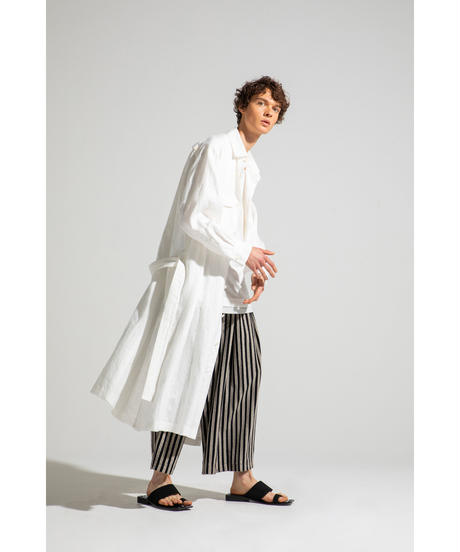 Robes & Confections  /  Black Twill Stripe Linen Ankle Tied Easy Pants