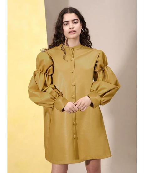 GHOSPELL / Blonde Faux Leather Mini Dress
