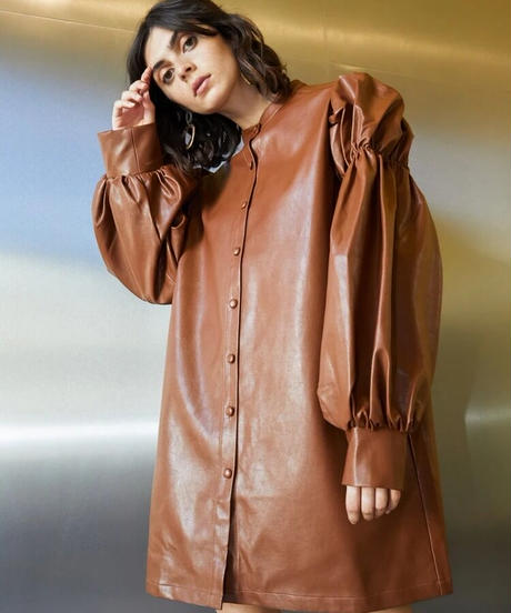 GHOSPELL / Definition Faux Leather Shirt Dress