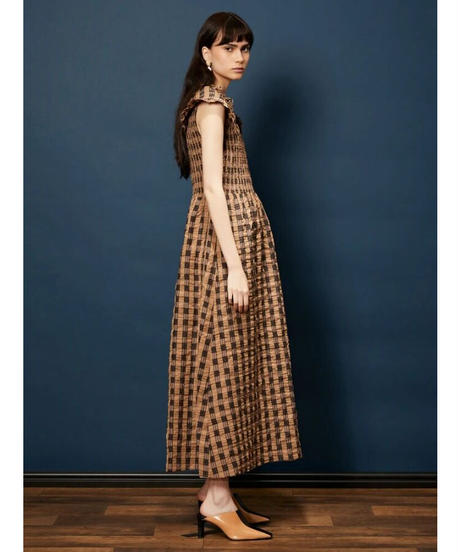 GHOSPELL / Curtain Call Shirring Midi Dress