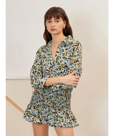 GHOSPELL / Figurative Ruched Shirt Dress