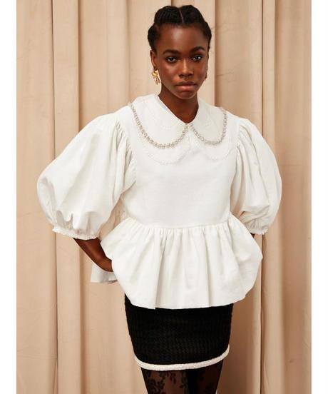 sister jane / DREAM Crystal Collar Oversized Blouse