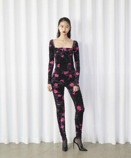 FETICO /  Floral print velour bodysuits ( BLACK × PINK )