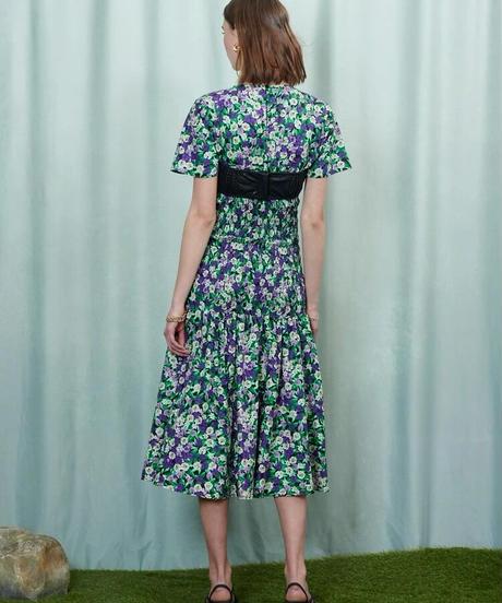 GHOSPELL / Mountain Flower Shirring Midi Dress