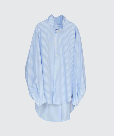 【2.24[wed]20:00‐PRE‐ORDER】OVERSIZED STAND COLLAR LONG SHIRT(BLUE STRIPE)