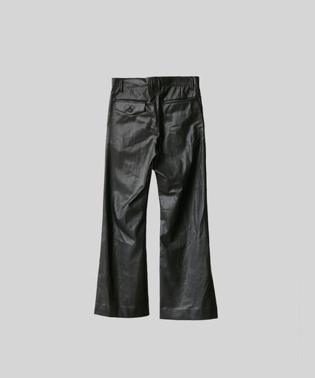 【3.27[sat]20:00‐PRE‐ORDER】NEW SYNTHETIC LEATHER FLARED PANTS(BLACK×BLACK)