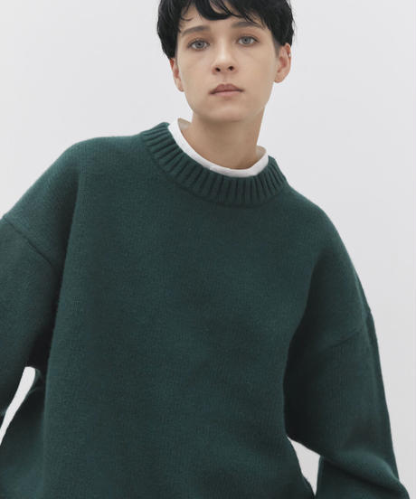 【9.25[sat]20:00‐PRE‐ORDER】OVERSIZED LAYERED KNIT PULLOVER  (D.GREEN)