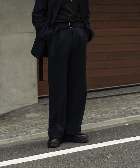 【9.18[sat]20:00‐PRE‐ORDER】WOOL JERSEY BELTED PANTS (NAVY)