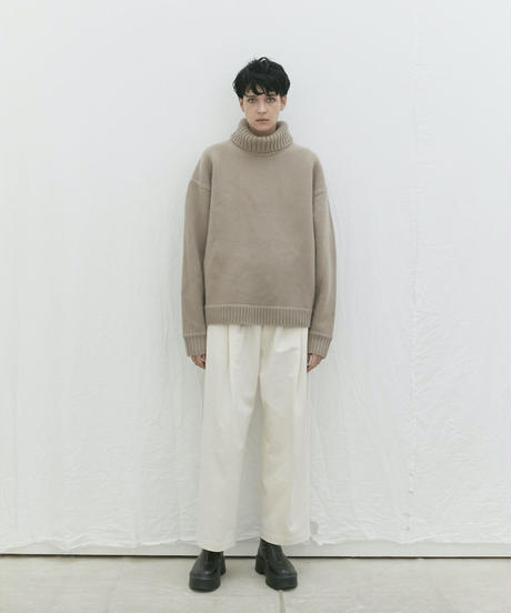 【9.25[sat]20:00‐PRE‐ORDER】OVERSIZED LAYERED KNIT PULLOVER   (GREIGE)