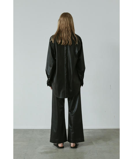 【4.17[sat]20:00‐PRE‐ORDER】OVERSIZED  SYNTHETIC LEATHER LONG  SHIRTS(WHITE STITCH)