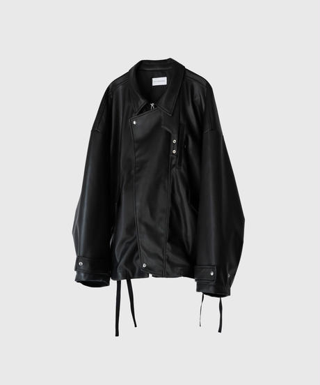 【8.28[sat]20:00‐PRE‐ORDER】SYNTHETIC LEATHER OVERSLEEVE DRIZZLER JACKET (BLACK)