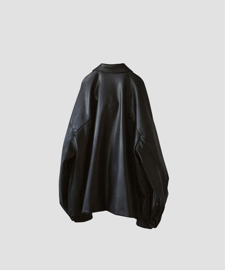SYNTHETIC LEATHER OVER SLEEVE DRIZZLER JACKET(BLACK)