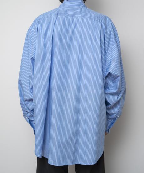 【4.27[tue] 20:00‐ PRE‐ORDER】FINX COTTON  EXTRA WIDE SHIRT(BLUE STRIPE)