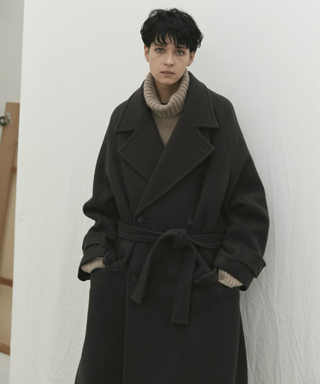 【10.16[sat]20:00‐PRE‐ORDER】PILE MELTON DOUBLE BREASTED COAT (CHARCOAL BROWN)