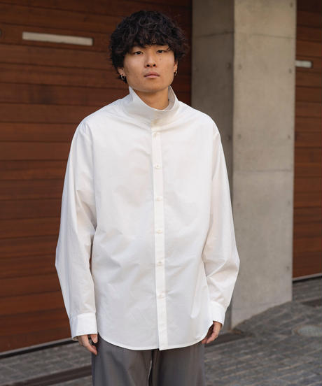 【2.24[wed]20:00‐PRE‐ORDER】OVERSIZED STAND COLLAR LONG SHIRT(WHITE)