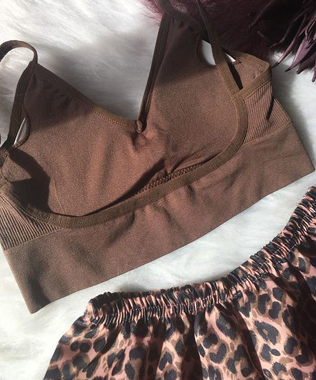 パッド付きbralette  brown ×  leopard