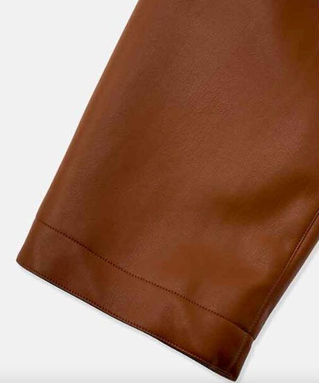 DIGAWEL  Synthetic Leather Half Coat【BROWN】