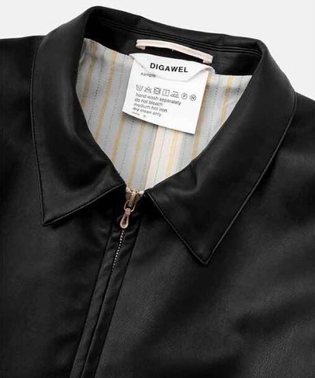 DIGAWEL  Synthetic Leather Half Coat【BLACK】