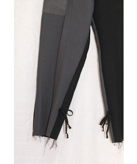 No.R-W-060 remake  pleats  pants (Black×Gray)