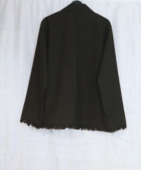 No.W-122 fringe pajamas shirt jacket(Brown×Black)