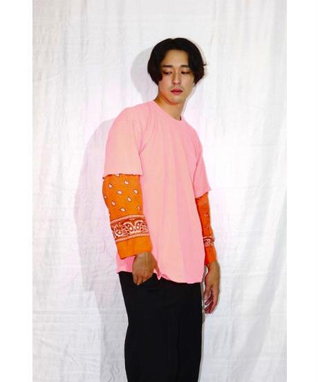 No.R-W-103 Sleeve Layered  Pullover -BANDANA (Orange)