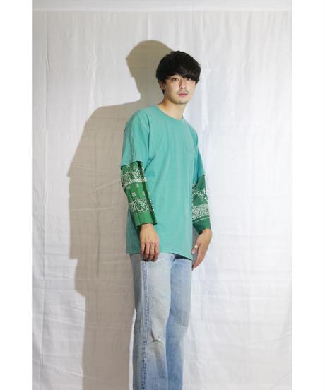 No.R-W-103 Sleeve Layered  Pullover -BANDANA (Green)