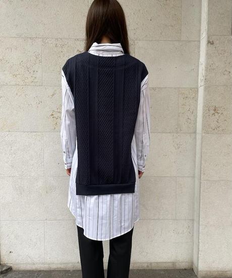 【値下げ46%OFF】Yシャツニット(ストライプ/ネイビー)