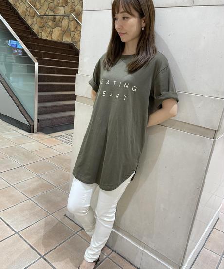 BEATINGHEART/ロゴ入り裾ラウンドカットのロングTシャツ