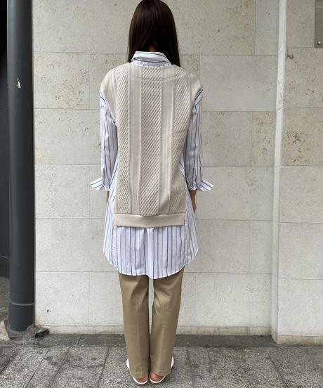 【値下げ46%OFF】Yシャツニット(ストライプ/ベージュ)