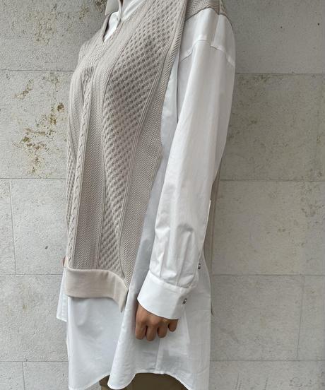 【値下げ46%OFF】Yシャツニット(無地/ベージュ)