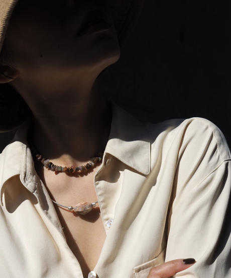 stone short necklace -mulch color agate-