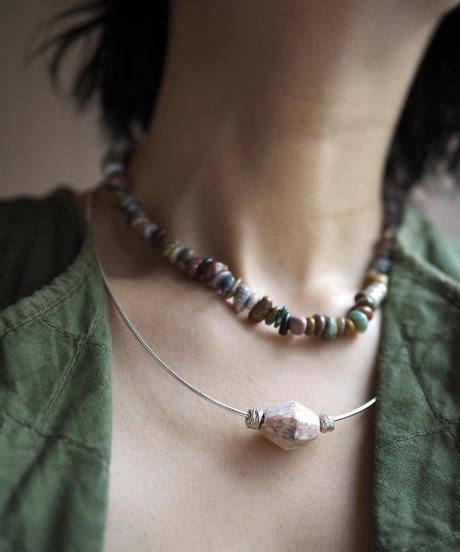 stone short necklace -ocean jasper-