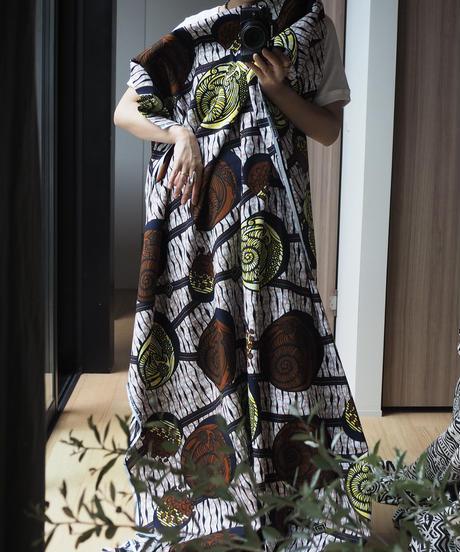 batik kaftan -brown×yellow-