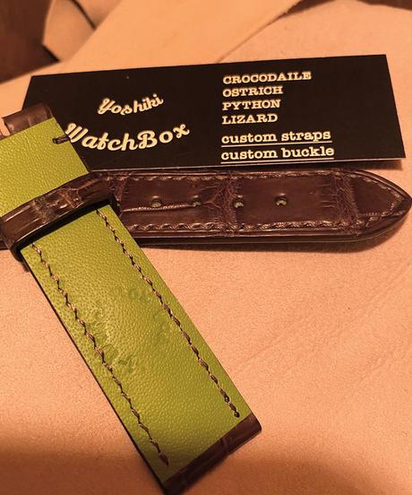 クロコダイル レザー 腕時計ベルト ダークブラウン 20mm-18mm CRO-166
