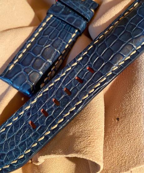 クロコダイル レザー 腕時計ベルト ブルー 24mm-22mm CRO-208