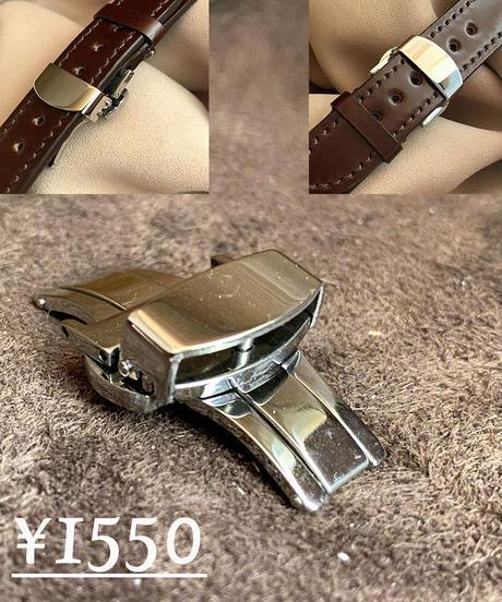 cro-538 クロコダイル レザー 腕時計ベルト ネイビー (ラグ幅21mm - バックル幅18mm)