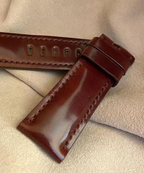 コードバン レザー 腕時計ベルト マホガニー (ラグ幅24mm - バックル幅22mm) cod-05