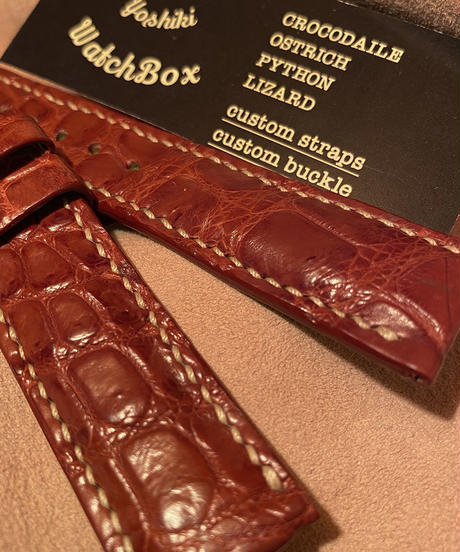 クロコダイル レザー 腕時計ベルト ブラウン 20mm-18mm CRO-192