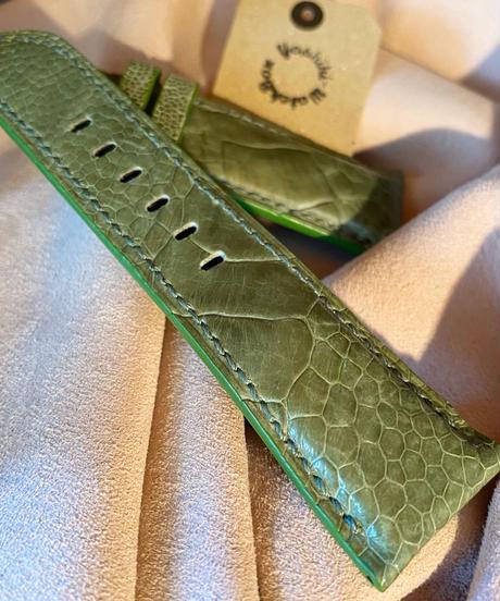 オーストリッチ レザー 腕時計ベルトグリーン 26mm-22mm OST-40
