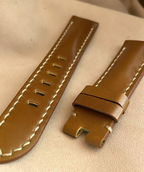 cod-39 コードバン レザー 腕時計ベルト イエローブラウン (ラグ幅22mm - バックル幅20mm)